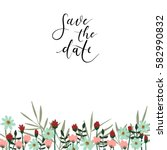 save the date hand lettering... | Shutterstock .eps vector #582990832