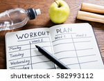 high angle view of a workout... | Shutterstock . vector #582993112