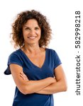 smiling middle aged woman with... | Shutterstock . vector #582998218