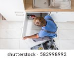 high angle view of man in... | Shutterstock . vector #582998992