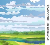 summer landscape with river and ... | Shutterstock .eps vector #583000936