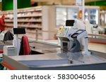 empty cash desk with screens... | Shutterstock . vector #583004056