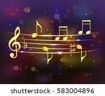 musical background with golden... | Shutterstock .eps vector #583004896