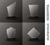 glass trophy award set....   Shutterstock .eps vector #583004956