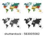 world map set isolated on white ... | Shutterstock .eps vector #583005082