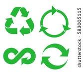 eco cycle arrows icon set.... | Shutterstock .eps vector #583005115