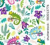 vector seamless pattern of... | Shutterstock .eps vector #583013776