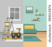 room before and after repair.... | Shutterstock .eps vector #583015876