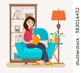 young woman reading book on... | Shutterstock .eps vector #583016452