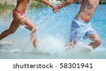 young couple in love running...   Shutterstock . vector #58301941