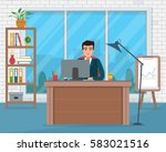 business man in workplace.... | Shutterstock .eps vector #583021516
