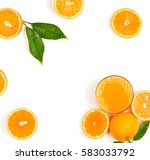 top view of squeezed orange... | Shutterstock . vector #583033792