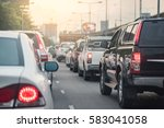 Traffic Jam With Row Of Car On...