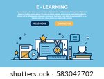 e learning concept for web site.... | Shutterstock .eps vector #583042702