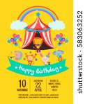 colorful birthday invitation... | Shutterstock .eps vector #583063252