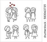 hand drawing cartoon set of... | Shutterstock .eps vector #583063735