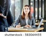 upsetting face expression of... | Shutterstock . vector #583064455