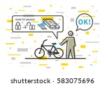 bicycle renting app vector... | Shutterstock .eps vector #583075696