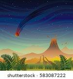 prehistoric landscape   volcano ... | Shutterstock .eps vector #583087222