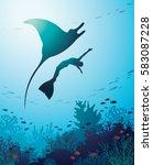 silhouette of manta  freediver... | Shutterstock .eps vector #583087228