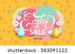 easter sale banner background... | Shutterstock .eps vector #583091122
