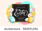 easter sale banner background... | Shutterstock .eps vector #583091296