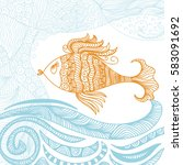 beautiful fish. vector... | Shutterstock .eps vector #583091692