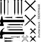 Hammer Nail Icon Vector...