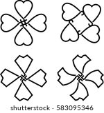 clover with four and three... | Shutterstock .eps vector #583095346