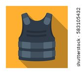 bulletproof vest icon in flat...