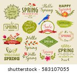 set of spring labels  signs and ... | Shutterstock .eps vector #583107055