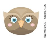 owl muzzle icon in cartoon... | Shutterstock .eps vector #583107865