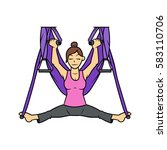 cartoon woman with yoga swing... | Shutterstock .eps vector #583110706
