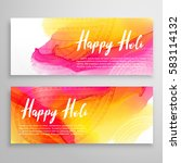 holi festival banners with... | Shutterstock .eps vector #583114132