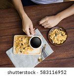 white cup of coffee on vintage... | Shutterstock . vector #583116952