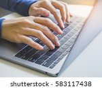 woman hand type on laptop... | Shutterstock . vector #583117438
