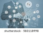 double exposure of business man ... | Shutterstock . vector #583118998