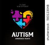 autism awareness month. it's... | Shutterstock .eps vector #583123048