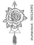 blackwork tattoo flash. rose... | Shutterstock .eps vector #583124392