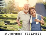 senior adult couple exercise... | Shutterstock . vector #583124596
