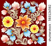 abstract spring floral ornament ... | Shutterstock .eps vector #583126582