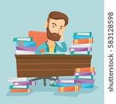caucasian annoyed student... | Shutterstock .eps vector #583128598
