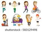 caucasian woman weighing after...   Shutterstock .eps vector #583129498
