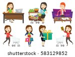 woman rushing to shopping with... | Shutterstock .eps vector #583129852