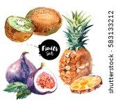 watercolor pineapple  kiwi ... | Shutterstock . vector #583133212