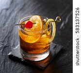old fashioned cocktail... | Shutterstock . vector #583137526