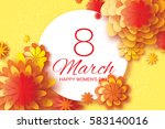 orange paper cut flower. 8... | Shutterstock .eps vector #583140016