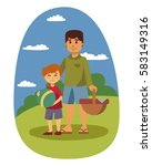 picnic setting with fresh food... | Shutterstock .eps vector #583149316