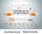 pencil ideas concept doodles... | Shutterstock .eps vector #583152346