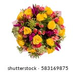 bouquet of flowers top view on... | Shutterstock . vector #583169875